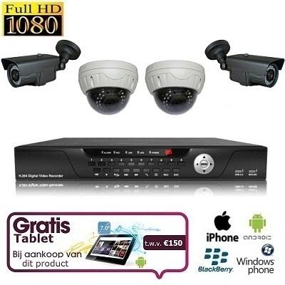 4x IR Dome Camera Set FULL HD SDI + TABLET