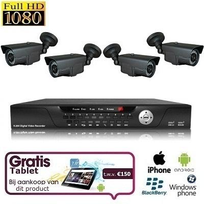4x IR Bewakingscamera Set FULL HD SDI + TABLET