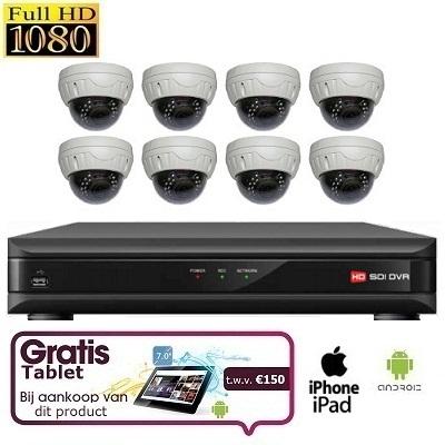 8x Dome Camera Set HD SDI + TABLET