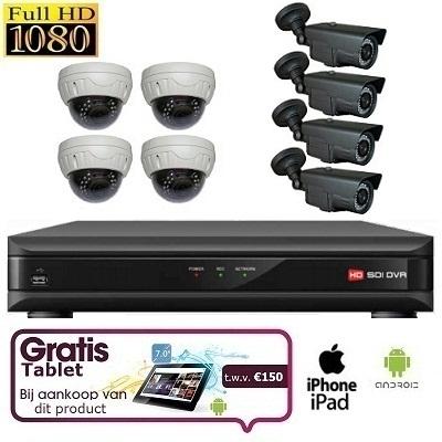 8x IR Dome Camera Set HD SDI + TABLET