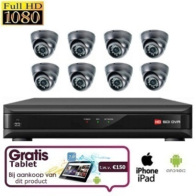 8x Mini Dome Camera Set HD SDI + TABLET