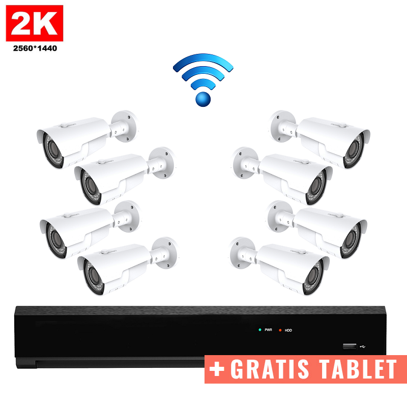8x IR IP Camera 2K POE Draadloos + GRATIS TABLET