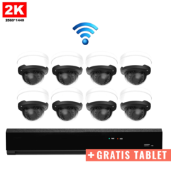 8x Dome IP Camera 2K POE Wireless + FREE TABLET