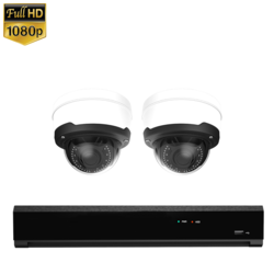 2x Dome IP Camera 1080P POE Bekabeld