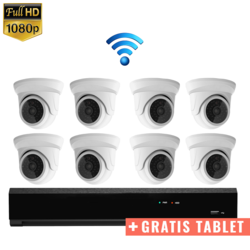 "8x Mini Dome IP Camera 1080P POE Draadloos + GRATIS TABLET <span class=""smallText"">[41395]</span>"