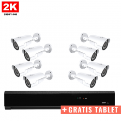 8x IR IP Camera 2K POE Bekabeld + GRATIS TABLET